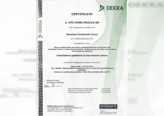 Certificato DEKRA Figura Professionale